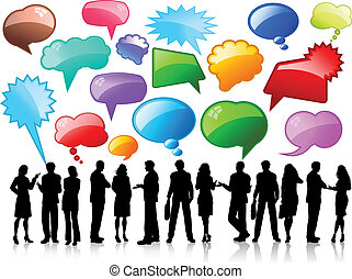Silhouettes of business people in conversation with glossy speech bubbles