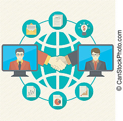 Conceptual illustration of business cooperation using the new information-sharing technologies in three color variations. It can present the idea of collaboration, exchange of ideas, information and international partnership.