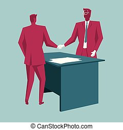 Business cooperation concept design. Isolated on blue background.