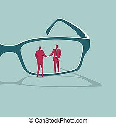 Business cooperation concept. Isolated on blue background.