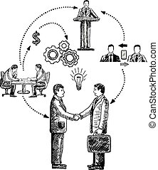 Business cooperation concept vector hand drawn illustration