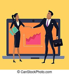 Business Cooperation Concept Vector in Flat Style.