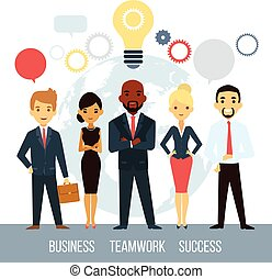 Team of professional successful smart businessmen with great ideas isolated vector illustration