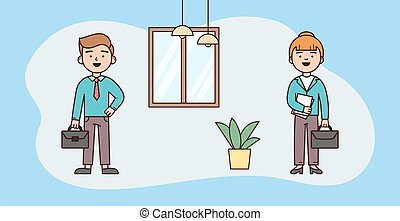 Business, Corporate Employees, Partnership Concept. Cheerful Business Colleagues Came To Workplace In The Morning. New Workweek Starts. Cartoon Vector Illustration In Flat Style On Blue Background.