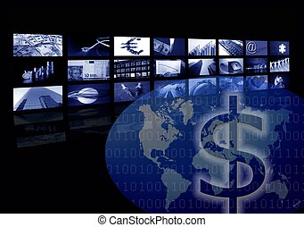 Business corporate, world map, multiple screen