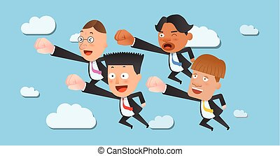 Business corporation flying concept flat character