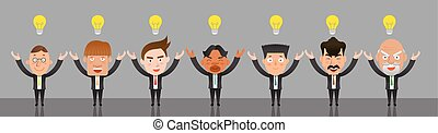 Business corporation team idea concept flat character