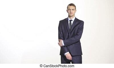 business, corps, bras, complet, arrière-plan., seconde, language., isolé, formé, main, corps, partiel, hands., une, sien, barrière, long, homme, cross., gestes, blanc
