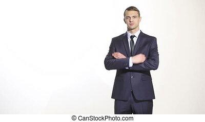 business, corps, bras croisés, complet, geste, isolé, hands., norme, homme, ventes, blanc, agents., arrière-plan., managers., formation, language.