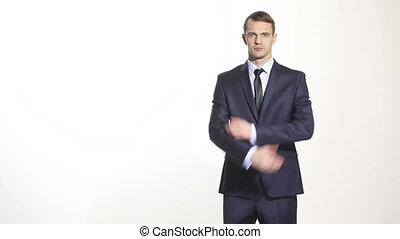 business, corps, bras croisés, complet, isolé, hands., homme, ventes, blanc, agents., arrière-plan., managers., formation, gestes, language.