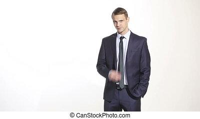 business, corps, cartes., complet, arrière-plan., language., doigt, isolé, nose., managers., lies., formation, méfiance, toucher, homme, ventes, agents., gestes, blanc