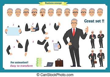 business, corps, différent, émotions, elements., vues, white., poses, suit., isolé, entiers, vecteur, plat, corps, expressions., gens., animation., homme affaires, caractère, avatar, homme, character.