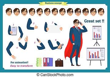 business, corps, elements., white., super, poses, isolé, ensemble, dessin animé, flat-style, actions, gens., illustration., gestes, homme affaires, caractère, complet, homme, manteau, debout