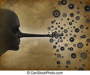 Business corruption problem as a person with fraudulent liar long nose transforming into gears and cog wheels as a metaphor for corrupt leadership as a symbol for communicating corporate lies.