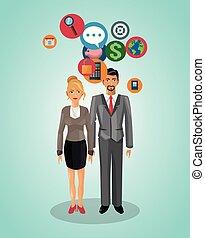 Business couple cartoon