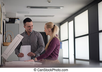 business couple copy documents - happy business people group...