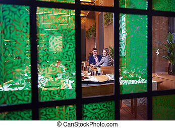 business couple having dinner
