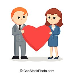 business couple holding big heart together