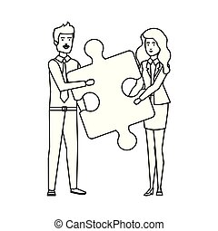 business couple lifting puzzle piece