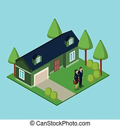 Business couple real estate 3d