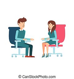 business couple sitting in chair office