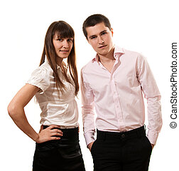 Business couple smiling isolated over a white background