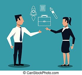 Business couple teamwork