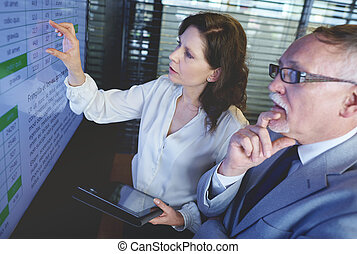 Business couple using screen in the meeting