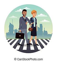 business couple walk street urban background