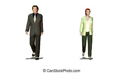business couple walking looping