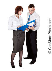 Business couple with a folder for documents in the studio