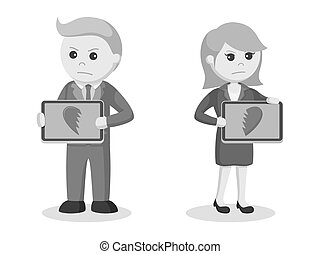 Business couple with broken heart icon in their tablet