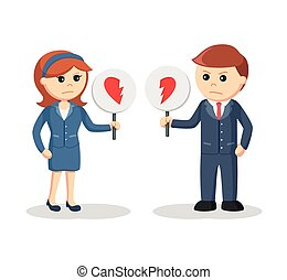 business couple with broken heart sign