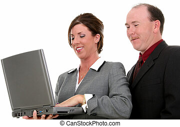 Business Couple With Laptop Computer