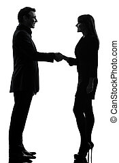 business  couple woman man handshake silhouette