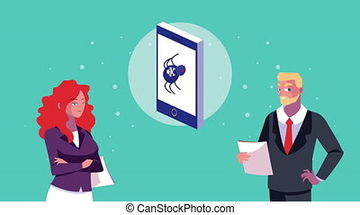 business couple workers with smartphone characters animation