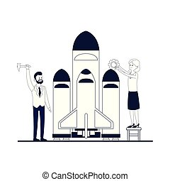 business coworkers executives cartoon vector illustration...