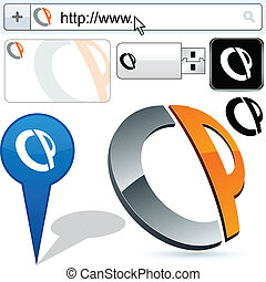 Business CP abstract logo design. - Business CP vector...