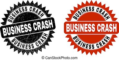 BUSINESS CRASH Black Rosette Watermark with Grunged Surface