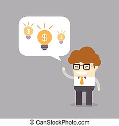 business creativity profit concept of man talk about his...