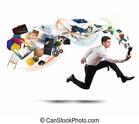 Business creativity with running businessman - Concept of ...