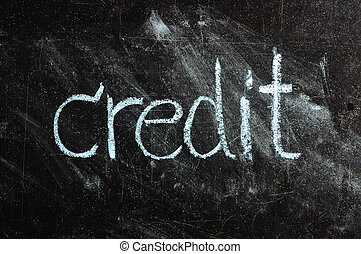 business CREDIT written on blackboard