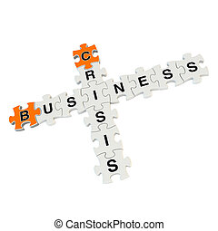 Business crisis 3d puzzle on white background