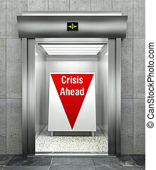 Business crisis ahead. Modern elevator with red down arrow