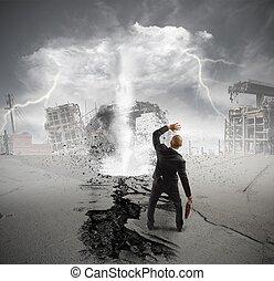 Business crisis storm