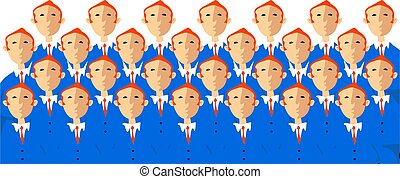 business crowd - A crowd of identical business men in a...