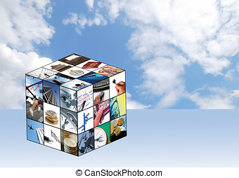 Business cube - Cube of business images with cloudy blue sky