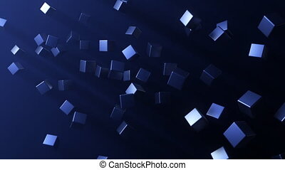 Randomly placed cubes arranging themselves into one cohesive block.