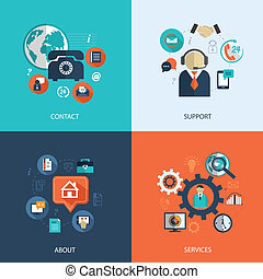 Business customer care service concept flat icons set of...