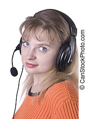 business customer support operator woman isolated